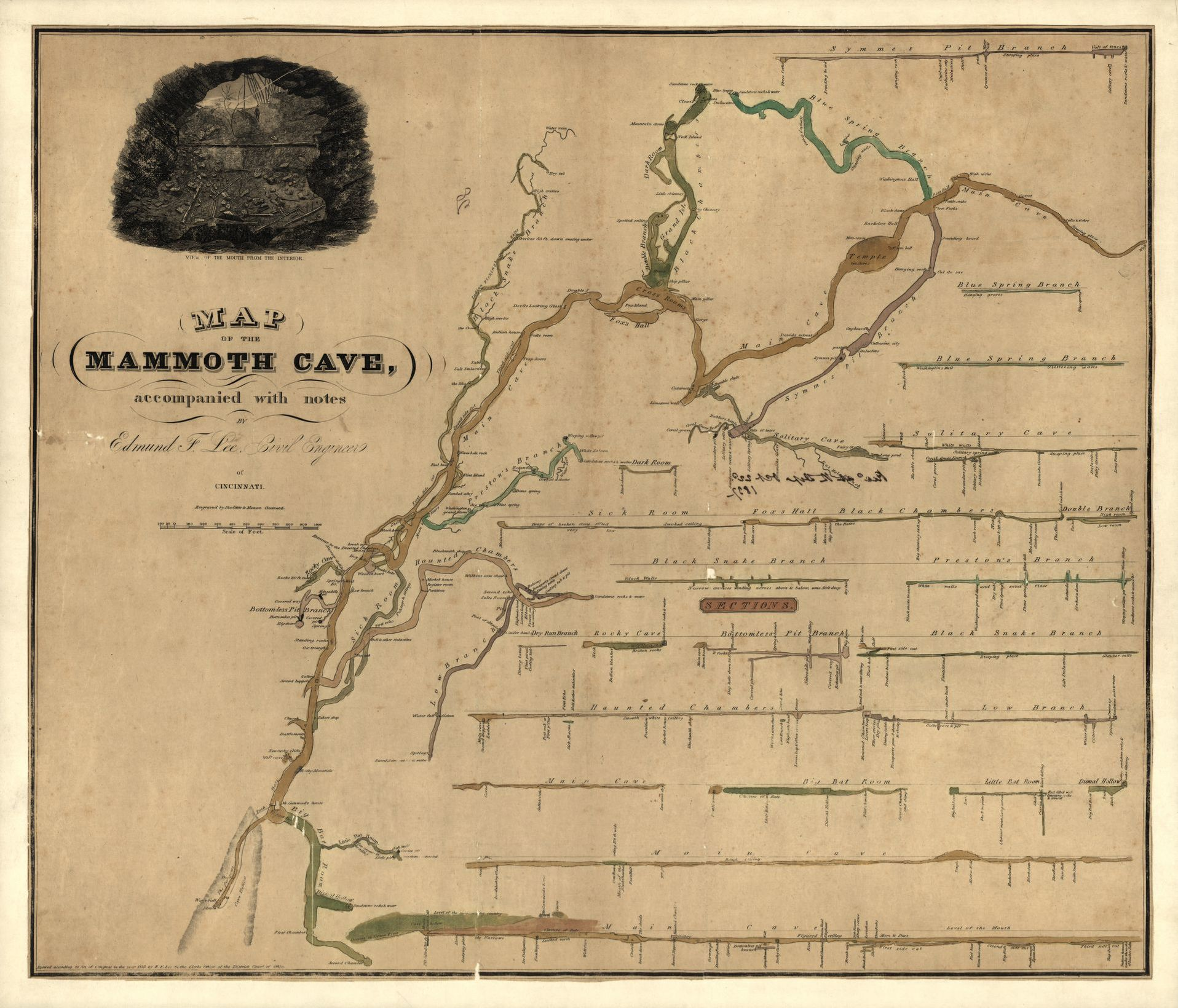 A detailed map of Mammoth Cave showing various features and routes.