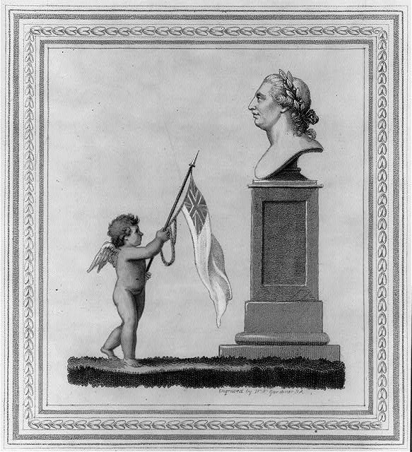 Cupid holding British flag before bust of King George III (Engraving by W.N. Gardner, 1804), Prints and Photographs Division, Library of Congress