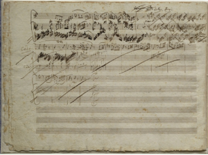 Figure 1:  A leaf from the final movement of the Sonata for violin and piano,  K. 379 in G Major composed  by Wolfgang Amadeus Mozart (1756-1791),  revealing the use of multiple inks, superimpositions, cancellations, etc.  This  example stands in sharp contrast to Mozart's usual pristine musical hand.    Library of Congress, Gertrude Clarke Whittall Foundation.