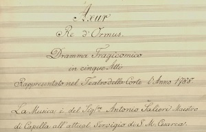 Copyists were instructed to sign their names in full at the end of the opera, and to include the date of completion and name of the holding library.  To the left is part of the title page from Antonio Salieri's opera  Axur, Re d'Ormus performed in 1788.