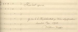 The signature of William Kupfer, primary amanuensis to Johannes Brahms in the 1880s and copyist of the manuscript located at the Hofbibliothek zu Wien in 1910.