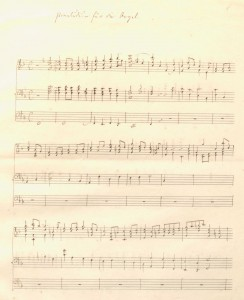"First page of Fanny Mendelssohn's F-major Prelude for organ, from ""The Mendelssohn family"" scrapbook, Library of Congress, Gertrude Clarke Whittall Foundation."