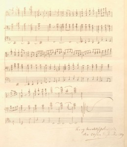 "Last page of Fanny Mendelssohn's F-major Prelude for organ, dated at the end beneath her signature, from ""The Mendelssohn family"" scrapbook, Library of Congress, Gertrude Clarke Whittall Foundation."