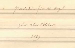"Detail from cover page of Fanny Mendelssohn's F-major Prelude for organ, from ""The Mendelssohn family"" scrapbook, Library of Congress, Gertrude Clarke Whittall Foundation."