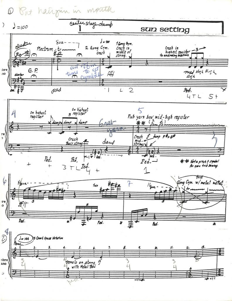 First page of timbre piano score for Black Lake, with Dlugoszewski's notes. (Erick Hawkins and Lucia Dlugoszewski Papers, Music Division, Library of Congress.)