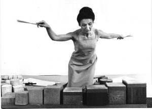 Lucia Dlugoszewski playing her percussion instruments. (Photographer and date unknown, publicity photo, Erick Hawkins and Lucia Dlugoszewski Papers, Music Division, Library of Congress.)