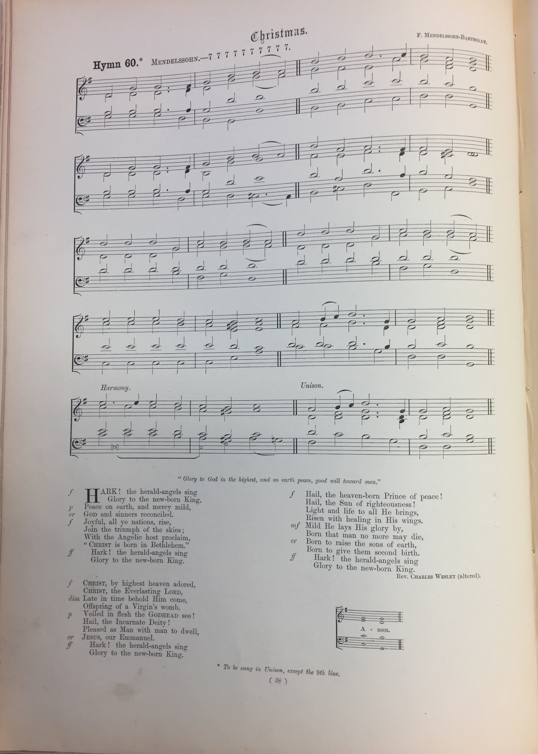 "Rev. R.R. Chope's ""The Congregational Hymn & Tune Book"" (1874 editions), with Mendelssohn and Wesley credited. Music Division, Library of Congress, call number M2136.H97 1875."