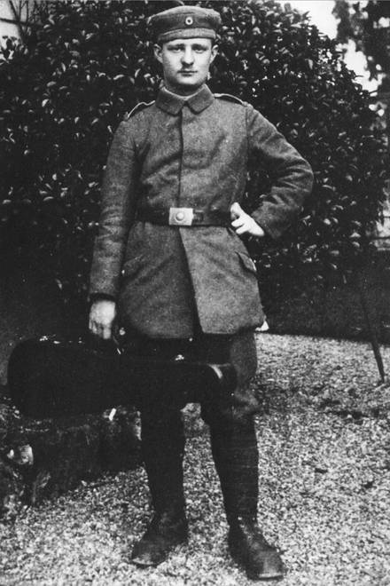 Hindemith in uniform with his viola during WWI, ca. 1917-1918 (Fondation Hindemith)