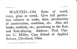 "Wanted ad placed in the December 1924 issue of ""The Flutist"" by Dayton C. Miller (Dayton C. Miller Collection)"