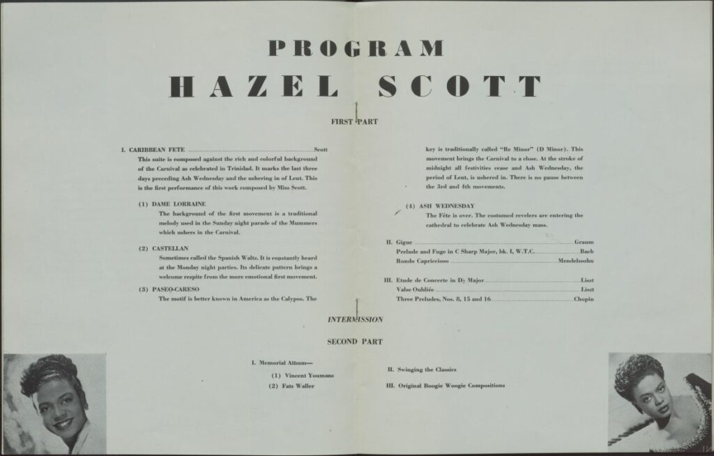 Interior of Hazel Scott program listing works performed.
