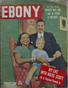Ebony magazine cover featuring Hazel Scott and family.