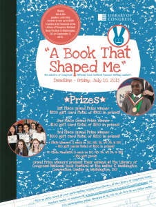 2015 'A Book That Shaped Me' Summer Writing Contest poster