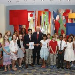 Festival Co-Chairman David M. Rubenstein meets with blog author Lola Pyne and children from the A Book That Shaped Me and Letters About Literature contests, September 5, 2015. Photo by Shawn Miller.