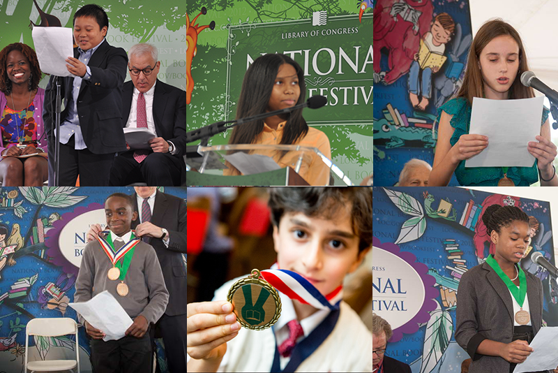 "Past ""A Book That Shaped Me"" contest winners, clockwise: Alexander Constantino, Myla Agyin, Sofie Dalton, Julian Jackson, II, Ananda Kalukin, Jessica Holloway."