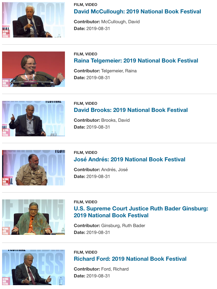 Screen shot of videos from the 2019 National Book Festival