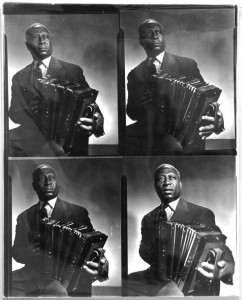 Photo of Lead Belly, seated with an accordion, 1942. Image is a contact sheet with four different poses.