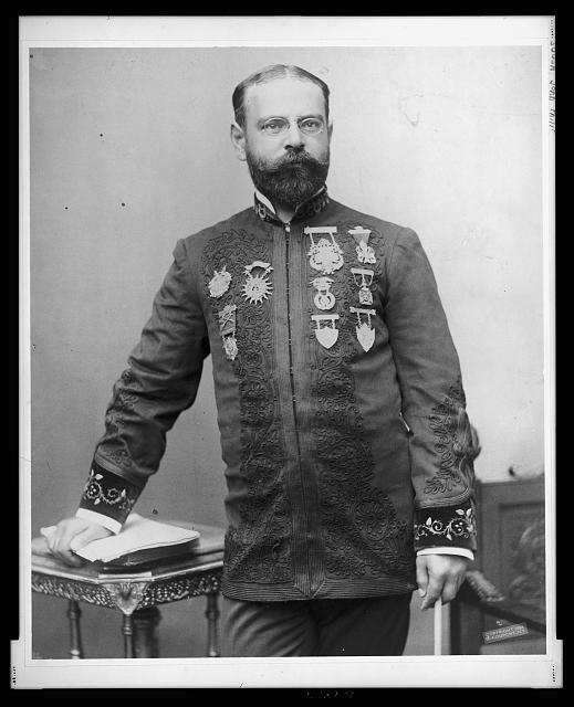 Photo of John Philip Sousa, standing, facing front. Published 1895.