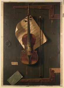 A painting (still-life) of a violin with sheet music and accessories