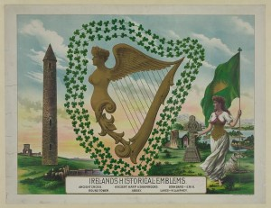 A lithograph of Ireland's Historical Emblems, including a harp, shamrocks, and Celtic crosses.