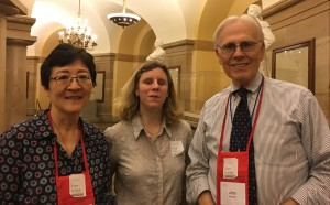 Photo, left to right, of Donna Koh, music reader services librarian, Jordy Howell, Chair, ICEB Music Committee, John Hanson, Head, Music Section