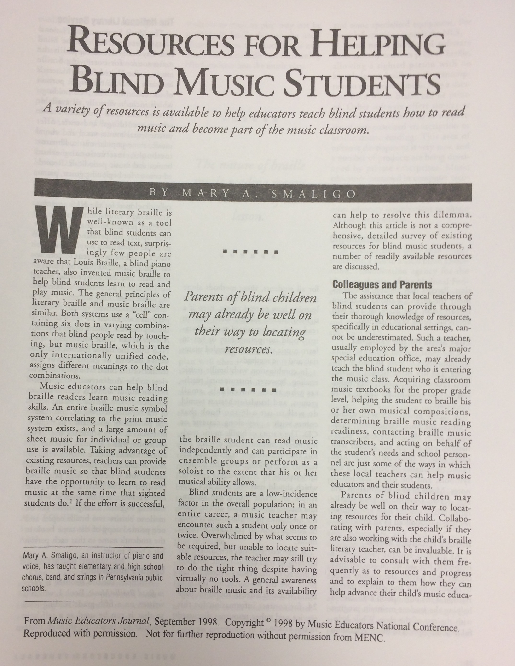"""Resources for Helping Blind Music Students"" by Mary A. Smaligo"