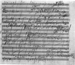 A handwritten page from Beethoven's Sixth Symphony. Public Domain.