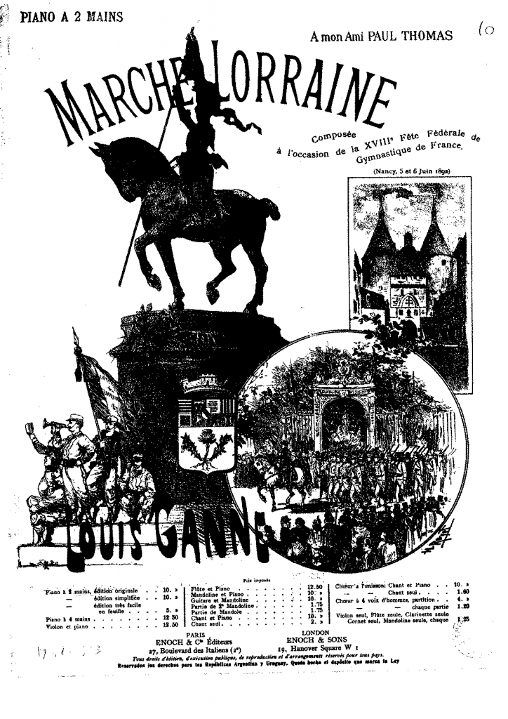 "The cover of an arrangement of ""Marche Lorraine"" for two pianos, 1917. Public domain."