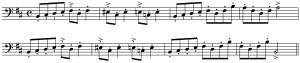 "Musical notation of Peer Gynt's ""In the Hall of the Mountain King."" Source: https://commons.wikimedia.org/wiki/File:Mountain_King_theme.PNG"