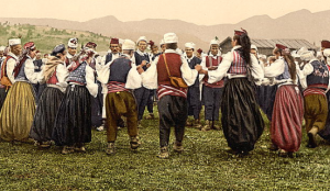 Detail from: Peasants dancing, Bosnia, Austro-Hungary. , ca. 1890. Photograph. Retrieved from the Library of Congress, //www.loc.gov/item/2002710708/. No known restrictions on publication.