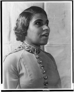 Portrait of Marian Anderson singing.
