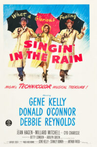 Singing in the Rain. Poster (drawing) from 1952, showing Gene Kelly, Donald O'Connor and Debbie Reynolds.. Public Domain