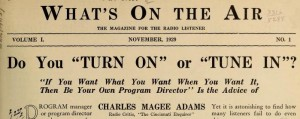 Headline from article from What's on the Air, 1929