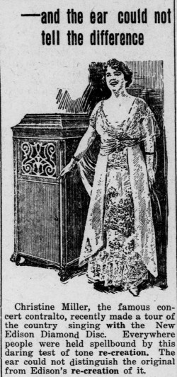 Advertisement picture contralto Christine Miller from The Fulton County Tribune, (Wauseon, OH) February 11, 1916