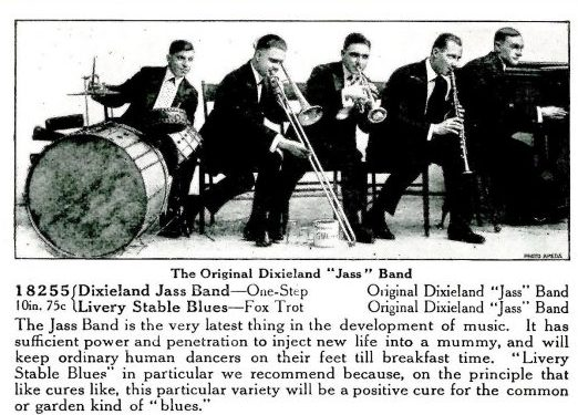 Picture of the Original Dixieland Jazz Band from the May 1917 Victor Supplement.