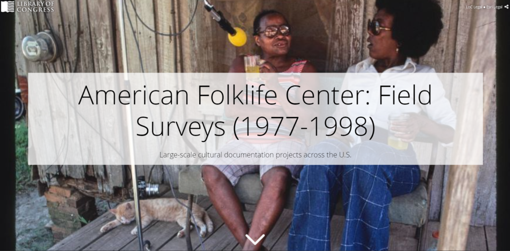 "Screenshot of opening image for Story Map created by American Folklife Center. Background image is of folklorist interviewing a person on front porch of house, and overlayed title text says ""American Folklife Center: Field Surveys (1977-1998)"