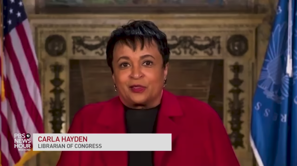 Image of Librarian of Congress Carla Hayden, interviewed in the PBS Newshour, April 10, 2021