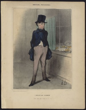 Print shows a man in a tall black hat with his hands in his pockets, looking sardonically at a window, covered by a grill, behind which sit bowls of coins. Daumier was a French caricaturist and cartoonist, who turned from political cartooning (after a stiff censorship law was passed) to satirizing the social and economic mores of middle class society. This print was one of 42 featuring emotional moments in the lives of his fellow Parisians. The title can be roughly translated as: Gold is a myth, for those who don't have a penny.