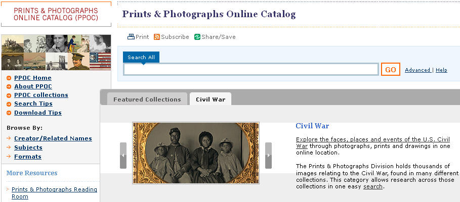 Prints & Photographs Online Catalog - Civil War search category