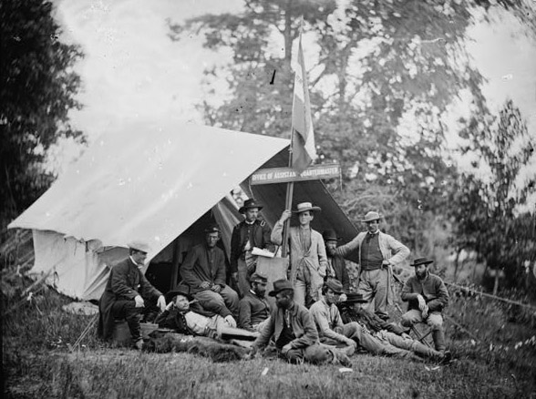 Fairfax Courthouse, Virginia. Capt. J.B. Howard, Office of Assistant Quartermaster, Army of the Potomac. Photo by Timothy O'Sullivan, 1863 June.