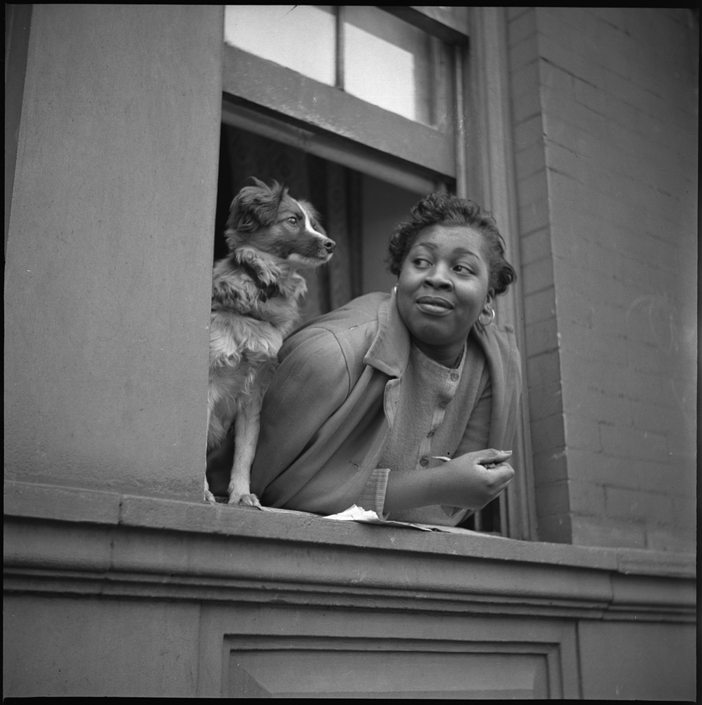 New York, New York. A woman and her dog in the Harlem section. Photo by Gordon Parks, 1943 May