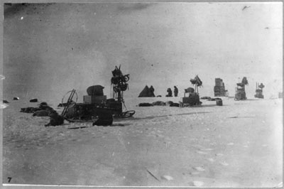 [Discovery and explorations of the South Pole by Capt. Roald Amundsen and crew, 1910-11]: A photograph of another of the expedition's camps on the way to pole