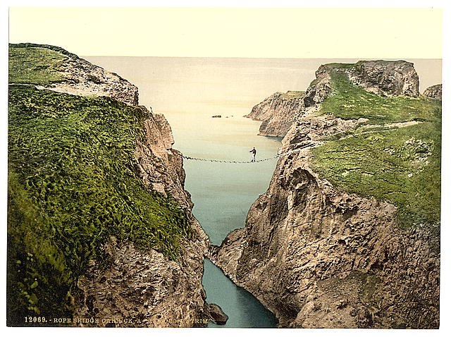 Rope Bridge, Carrick-a-Rede. County Antrim, Ireland. Photomechanical print (photochrom), between ca. 1890 and ca. 1900