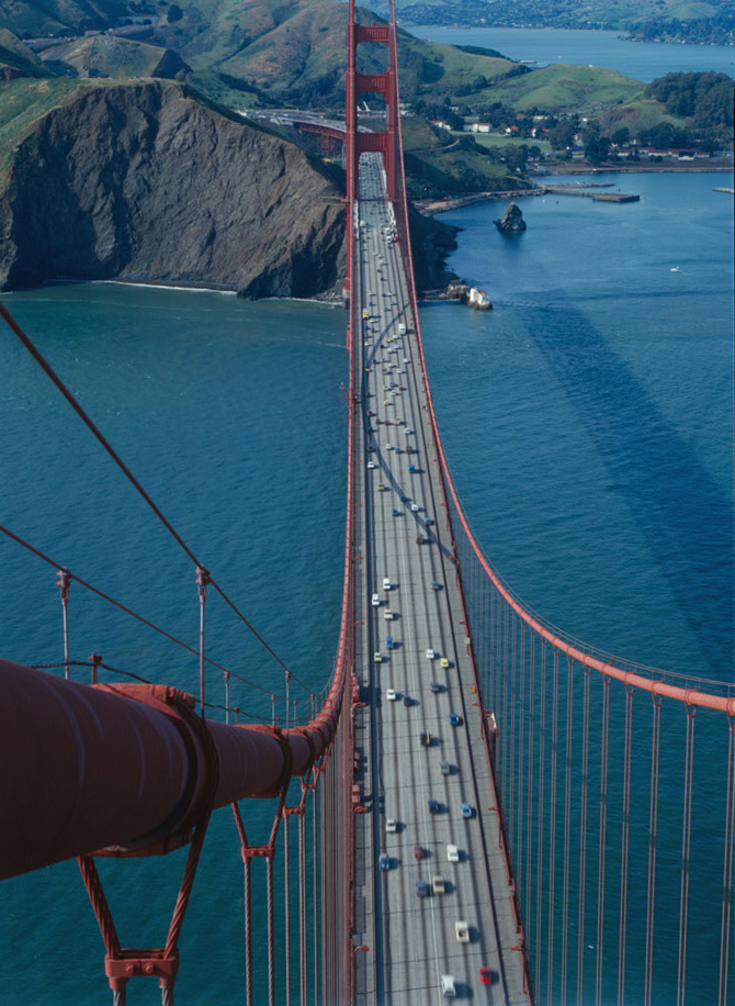 View from top of southern tower, Golden Gate Bridge