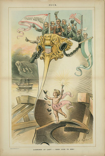Launched at last! - Good luck to her! Chromolithograph by C.J. Taylor, 1893 December 27. http://hdl.loc.gov/loc.pnp/ppmsca.29167