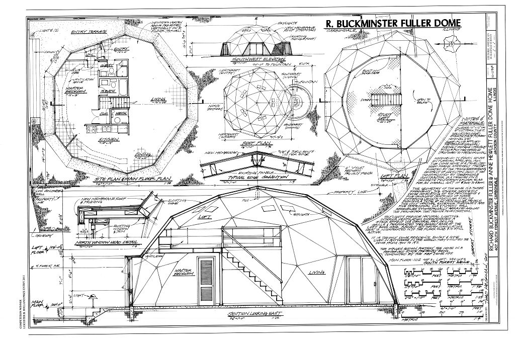 Southwest elevation, roof plan, site plan & main floor plan, loft plan, section looking east, north window head detail - Richard Buckminster Fuller & Anne Hewlett Fuller Dome Home, 407 South Forest Avenue, Carbondale, Jackson County, IL Drawing by Thad Heckman, 2011. //www.loc.gov/pictures/item/il0995.sheet.00001a/resource/