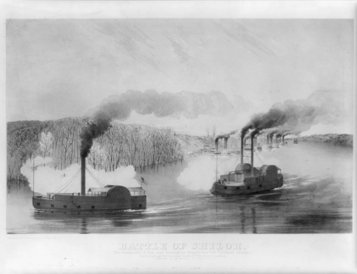 Battle of Shiloh. The Gunboats Tyler and Lexington Supporting the National Troops. Lithograph by Middleton, 1862. http://hdl.loc.gov/loc.pnp/cph.3a09479