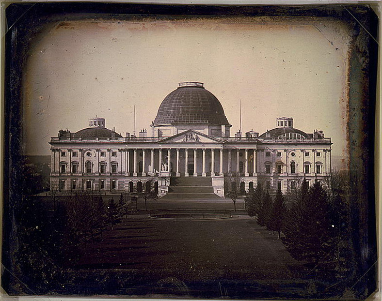 [United States Capitol, Washington, D.C., east front elevation]. Daguerreotype photo by John Plumbe, ca. 1846. //hdl.loc.gov/loc.pnp/cph.3g03595