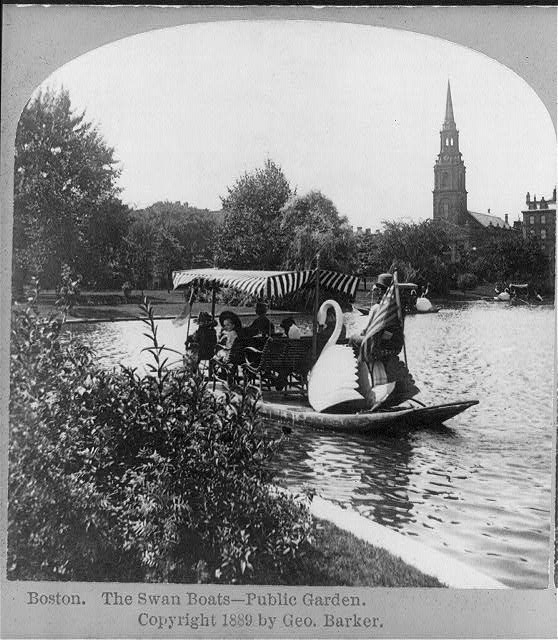 """Boston. The swan boats - Public Garden."" Stereo copyrighted by George Barker, 1889."