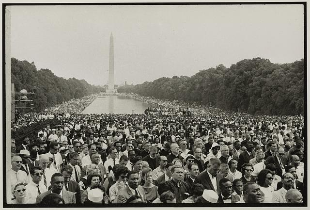 The marchers filled the area between the Lincoln Memorial and the Washington Monument on the National Mall in Washington, D.C. © Bruce Davidson/Magnum Photos.