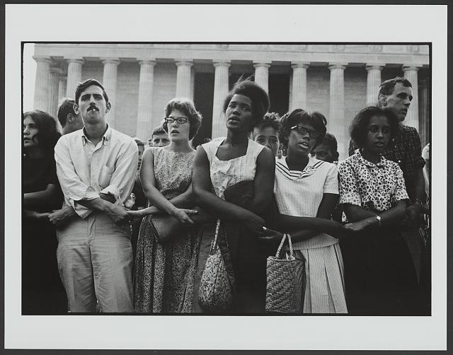 Participants link arms at the March on Washington. © Leonard Freed, Magnum Photos